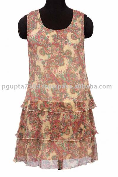 Chiffon Paisley Printed Dress (Шифон Пейсли Печатный платье)