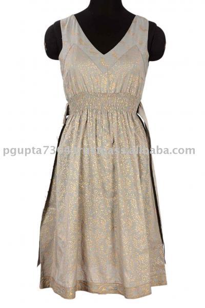Cotton Gold Printed Dress (Хлопок Золото Печатный платье)