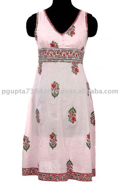 Cotton Hand Block Printed Dress (Хлопок Рука блока Печатный платье)