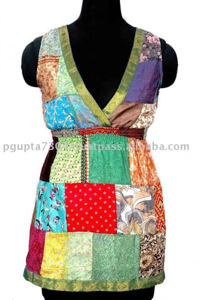 Vintage Saree Patch Dress (Урожай Сара Патч платье)