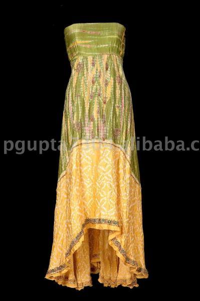 Satin Silk Tie Dye Bust Dress (Атласные шелковым галстуком Краска Бюст платье)