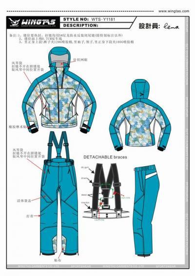 WTS-Y1181 ski jacket and pant (WTS-Y1181 лыжные куртки и брюки)