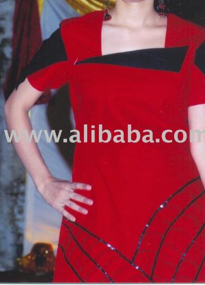 Black And Red Khadar Cotton Dresses (Черный и красный Хадар ситцевых платьях)