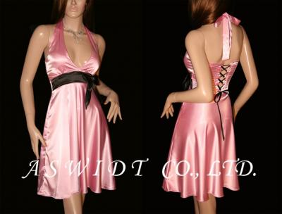 Sexy Red Satin Halter Black Bow Boned Corset Dress (Сексуальная красном атласе Halter Черного Лука обваленной корсет платье)