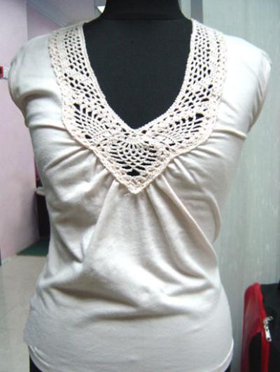 Sleeveless T With Hand Crochet (Рукавов Т С ручным вязания крючком)