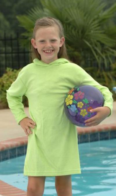 Big Girls Knit Terry Hooded Swim Cover Ups (Big Girls вязать Терри капюшоном плавать Обложка Ups)