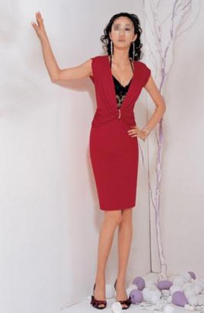 Deep V-Neck Red Dress (Глубокий V-Neck Красное платье)