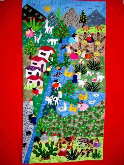 Andes Scene! ! ! ! Handmade Arpillera Patchwork (Анды Scene! ! ! ! Ручная Arpillera Patchwork)