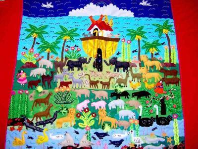 Noah`s Ark! ! ! ! Handmade Arpillera Patchwork (Ноев ковчег! ! ! ! Ручная Arpillera Patchwork)