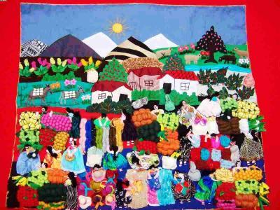 Andean Market! ! ! Handmade Arpillera Patchwork (Андское рынок! ! ! Ручная Arpillera Patchwork)