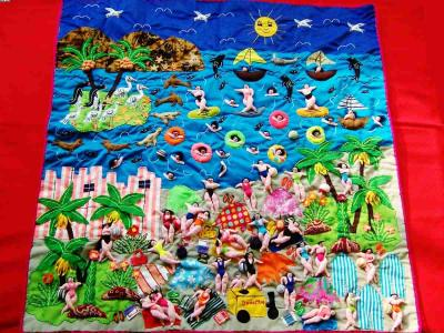 Amazing Beach! ! ! -Handmade Arpillera Patchwork (Amazing пляже! ! ! -Ручной Arpillera Patchwork)