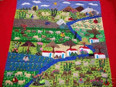 Huge Andean Haverst! ! ! -Handmade Arpillera Patchwork (Огромные Андского Haverst! ! ! -Ручной Arpillera Patchwork)