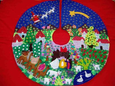 Huge Tree Skirt-Andean Christmas-Handmade Arpillera Patchwor (Огромное дерево Юбка-Анд-Рождественская ручной Arpillera Patchwor)