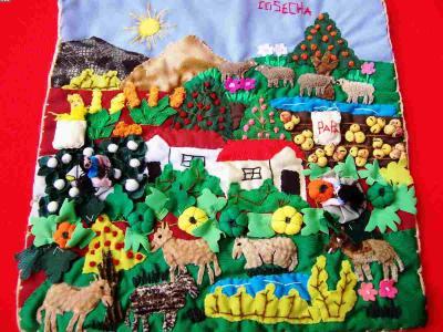 Andean Harvest! ! ! -Handmade Arpillera-Patchwork (Андское урожай! ! ! -Ручной Arpillera-Patchwork)