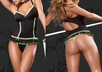Sexy Black + Green Lingerie + G String (Sexy Bl k Lingerie + зеленый + G String)