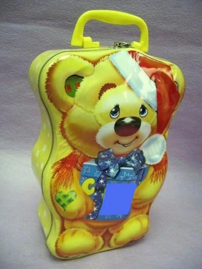 Christmas Tin Box / Tin with handle / Bear Tin Box