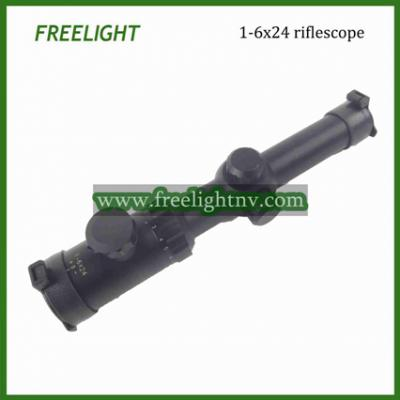 1-6x24 tactical rifle scope with Red/Green Mil dot etched reticle (1-6x24 тактический прицел с красный / зеленый Mil точка травления сетки)