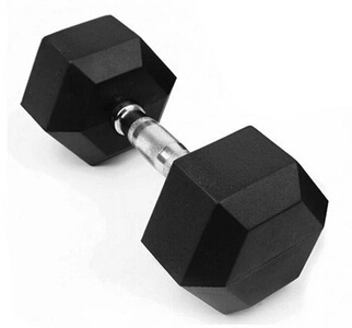 Fixed Hex rubber coated dumbbell ()
