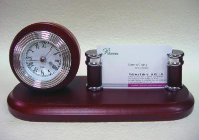 Solid wooden clock with card holder desk set