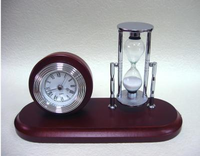 Solid wooden clock with sand timer desk set