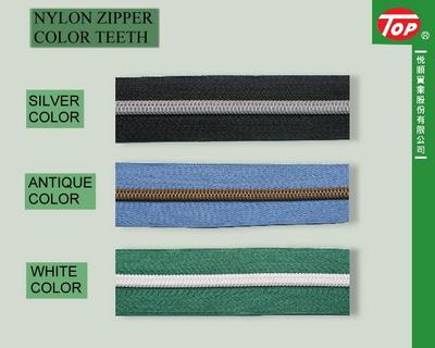 COLOR TEETH FOR NYLON ZIPPER