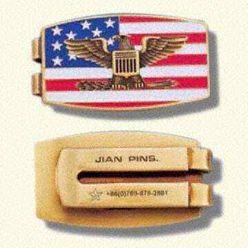 Delicate Brass Money Clips with Customer`s Logo Stamped (Нежная латунные Money клипы с логотипом клиента штампованные)