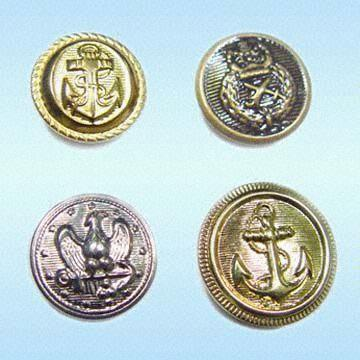 Quality Metal Buttons Made of Brass or Zinc Alloy, Good Garment Accessories