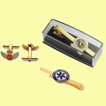 Tie Clip/Cufflinks Made of Copper, Bronze, Brass, Zinc Alloy or Pewter