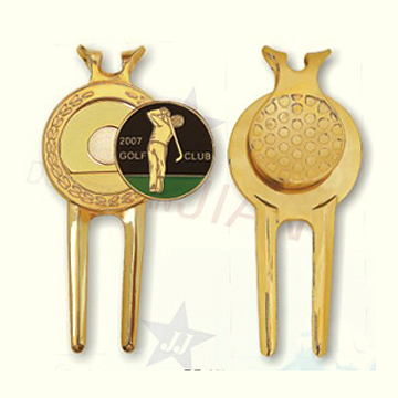 Metal Golf Divot Tool with Golden Plating (Metal Golf Divot Tool with Golden Plating)