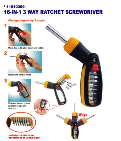 16-IN-1 3 Way Ratchet Screwdriver (16-IN-1 3 Way Ratschen-Schraubendreher)