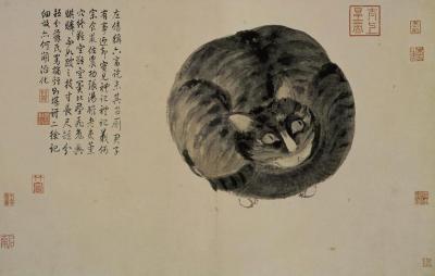 painting,National Palace Museum,art,traditional Chinese painting,decoration,Cat (Живопись, Национальный дворец-музей, искусство, традиционная китайская живопись, декор, кот)